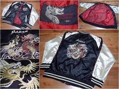 SUKAJAN Souvenir satin bomber baseball jacket ( japanese XXL ) Dragon JAPAN dada…