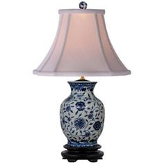 "Blue and White English Floral Porcelain Vase Table Lamp -184.91;•20 1/2"" high.   •Shade is 5"" across the top, 13"" across the bottom, 9 1/2"" high."