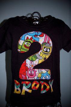 Birthday Shirt Yo Gabba Gabba fabric by MsCourtneysCloset on Etsy, $17.00