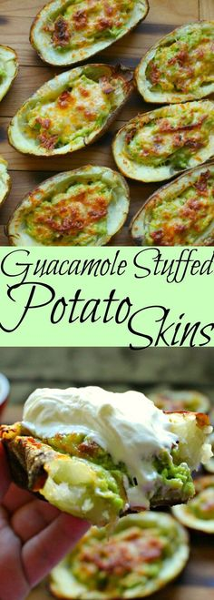 A gluten free appetizer that is sure to please everyone! These guacamole stuffed potato skins are simple to make and delicious to eat! Great to share too! Guacamole stuffed Potato Skins - V - Guacamole Stuffed Potato Skins More # Avocado Dessert, Avocado Smoothie, Vegetarian Recipes, Cooking Recipes, Healthy Recipes, Free Recipes, Vegan Avocado Recipes, Protein Recipes, Fingers Food