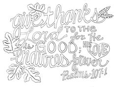 Thanksgiving Coloring Pages Scripture In Give Thanks To The Lord Page