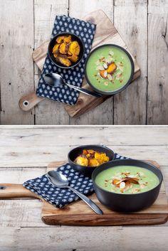 CAULIFLOWER & BROCCOLI SOUP WITH SWEET POTATO CRISPS #vegan #lunch