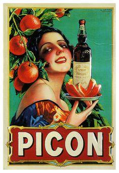Vintage Poster Vintage Apple Collection Premium Thick-Wrap Canvas Wall Art Print entitled Picon Liqueur - Vintage Beverage Advertisement, None - Retro Poster, Poster Ads, Advertising Poster, Poster Vintage, Pub Vintage, Vintage Travel, French Vintage, Old Posters, Posters
