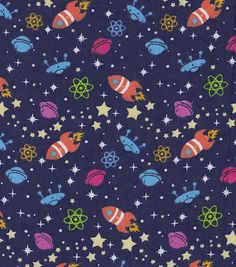 Snuggle Flannel Fabric-Rocket In Space