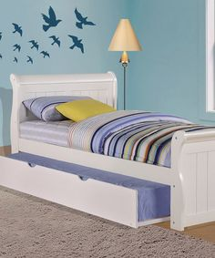 White Sleigh Bed & Trundle Set
