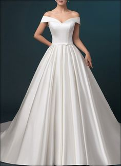 Satin wedding dress a-line with pockets