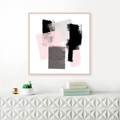 A contemporary abstract print with striking textural detail combined with beautiful simplicity. Perfect for your trendy, pink and grey theme. Available to download and print at a variety of sizes up to 30 x 30 inches.