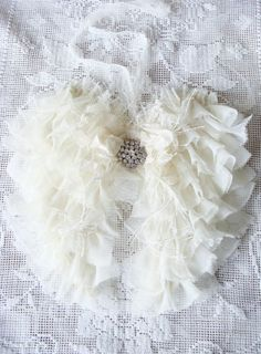 Ruffled Fabric Angel Wings, Angel Wings Wall Decor, Shabby Cottage Chic Home Decor White Christmas Wedding Bride Baby Soft Sweet Romantic