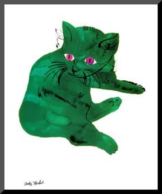 Holiday #coloroftheyear-inspired gift idea for the college student: Green Cat, c.1956 Mounted Print by Andy Warhol available from @ART.COM, $30.49