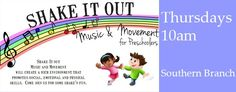 Thursdays  I  10:00 AM-10:30 AM  I  Calvert Library Southern Branch.  Shake It Out Music and Movement will create a rich environment that promotes social, emotional and physical skills. Come join us for some shake'n fun.