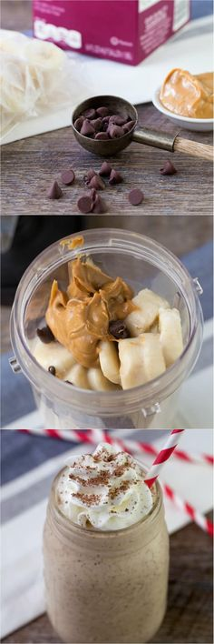 Chunky Monkey Smoothie - banana, peanut butter, almond milk, chocolate chips the perfect grab and go breakfast and healthy snack!