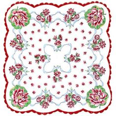 Lovely Vintage Hankerchief. For a full board of Printable Fabric, Rugs, Quilts Dollhouse Miniatures pins with 'No Pin Limits', Click here: https://www.pinterest.com/annesminis/printables-fabric-rugs-quilts-dollhouse-miniatures/:
