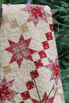 """Simple stars and chain lap quilt (66"""" x 82"""") shown in """"Welcome Fall"""" by Deb Strain. This pattern would look great in any fabric. #BarbCherniwchan #coachhousedesigns #DebStrain #Moda #ModaFabrics #Fall #FallQuilt #Autumn #WelcomeFallsFabric #Quilting #Sewing #Quilt Beginner Quilt Patterns, Star Quilt Patterns, Modern Quilt Patterns, Lap Quilts, Mini Quilts, Patchwork Quilting, Quilting Projects, Quilting Designs, Quilting Tutorials"""
