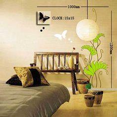 Dong-ho-canh-buom-den-cay-xanh Wall Clock Sticker, Stickers, Home Decor, Sticker, Interior Design, Home Interior Design, Decal, Home Decoration, Decoration Home