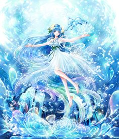 Water fairy princess with wings by manga artist Shiitake. Anime Angel, Anime Fairy, Manga Anime, Anime Chibi, Anime Art Girl, Manga Girl, Anime Girls, Kawaii Anime, Anime Fashion