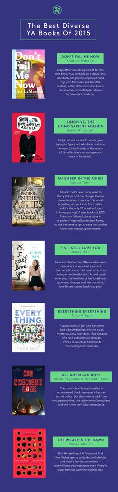 The Best Diverse YA Books Of 2015A number of these tales explored interracial relationships and families. There were stories of LGBT people coming out and falling in love. Some stories were heavy, but...