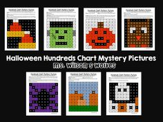 We love hundreds chart mystery pictures!  Halloween math number recognition...morning work here we come.