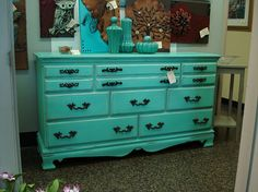 Teal Chalk Painted Buffet!