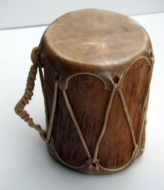 Native American Handmade Traditional Primitive Hollowed Aspen Log Double Ended Natural Stretched Raw Hide Drum for Art or Drumming Sessions. $165.00, via Etsy.