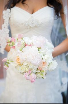 My wedding bouquet.  soft colors. peonies, roses, assorted flowers, blush colors