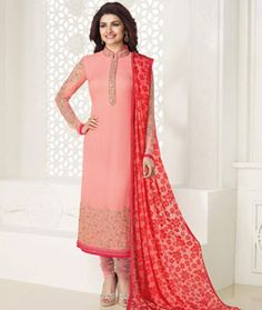 Buy Prachi Desai Pink Georgette Churidar Suit 77631 online at lowest price from huge collection of salwar kameez at Indianclothstore.com.
