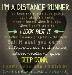 """""""I'm a distance runner"""". #running #inspiration #sfm2013"""