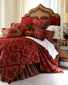 Shop luxury bedding sets and bedding collections at Horchow. Browse our incredible selection of full, queen, and king size luxury bedding sets. Gold Bedding Sets, Bed Comforter Sets, Red Bedding, Bedding Sets Online, Luxury Bedding Sets, Linen Bedding, Bed Linens, Luxury Linens, Glam Bedding