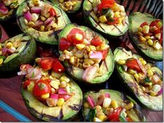 stuffed avocados - I added diced mango, fresh pineapple tidbits, diced persimmon and chopped cooked shrimp.  Fresh, sweet, savory LOVED it!