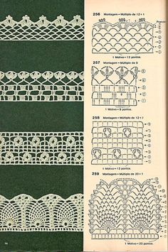 Diverse Häkeldüsen mit Grafiken in Geschirrtüchern, Toa … Crochet Edging Patterns, Crochet Lace Edging, Unique Crochet, Crochet Borders, Crochet Diagram, Crochet Chart, Lace Patterns, Crochet Trim, Beautiful Crochet