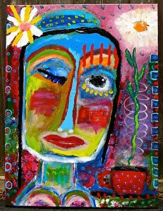 """""""She Winked At Me And The World Was In Bloom"""" an original painting by Tracey Ann Finley"""