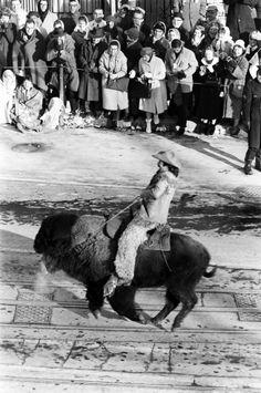 Not originally published in LIFE. A Buffalo Bill character performs at the inaugural parade, January 1961.