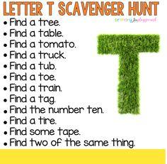 Letter T Scavenger Hunt #letterscavengerhunt #alphabetscavengerhunt #abccountdown #alphabetactivities #kindergarten
