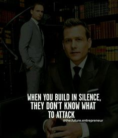 Build in silence and they won't know how to attack. Wisdom Quotes, Me Quotes, Motivational Quotes, Inspirational Quotes, People Quotes, Harvey Specter Quotes, Suits Quotes, Grey Anatomy Quotes, Thoughts