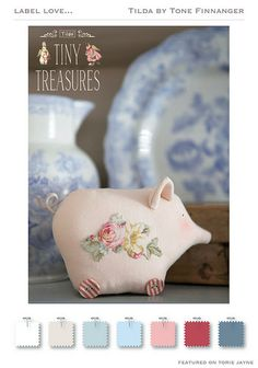 """This afternoon I wanted to share with you the second new Autumn Winter 2014 collection from Tilda, Tiny Treasures. """"Life's little joys are the main ingredients in the Tiny Treasures collection, th Pig Crafts, Doll Crafts, Diy Doll, Fabric Toys, Fabric Scraps, Plush Dolls, Doll Toys, Liberty Betsy, Happy Pig"""