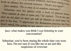 Romanian conversation between Jace and Sebastian in City of Glass