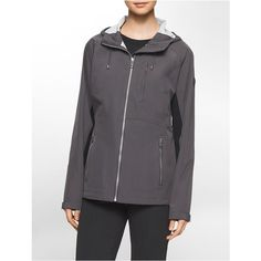 Calvin Klein Women's Mixed Media Funnel Neck Rain Jacket ($100) ❤ liked on Polyvore featuring outerwear, jackets, titanium, calvin klein jacket, water resistant hooded jacket, funnel neck jacket, funnel jacket and water resistant jacket