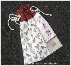BOLSA PARA EL PAN Patchwork Bags, Christmas Stockings, Needlework, Applique, Quilts, Sewing, Holiday Decor, Handmade, Crafts