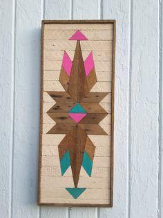 """Listón de madera reciclada de la pared arte Decor geométrica mosaico diamantes y triángulos diseño rustico Vintage madera 10.7 5"""" por 26,75"""""""