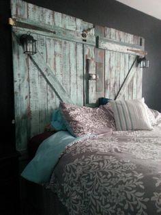 Barn door headboard built from reclaimed materials for Nikki.
