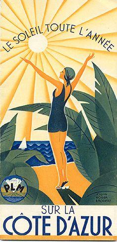 """""""Le Soleil toute l'année sur la Côte d'Azur,"""" 1933....reépinglé par Maurie Daboux ❥•*`*•❥"""