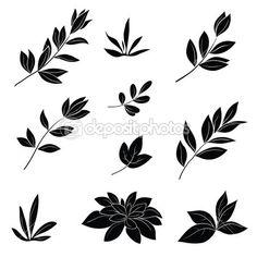 Levelek, fekete sziluettek — Stock Illustration #12063083