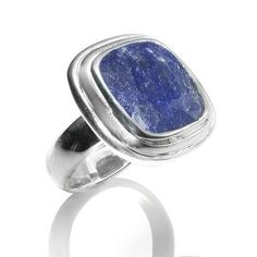 R005031* - Faceted Rough Cut Sapphire and Sterling Silver Ring