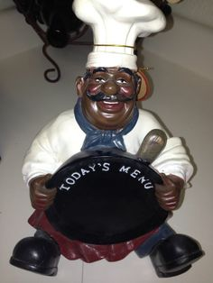 Fat Chef Pan Menu Statue! African American Black Fat Chef Decor Adorable!  NWT!
