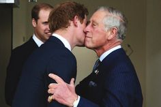 iloveroyalfamilies: Prince Harry greets his father The Prince of Wales as his brother The Duke of Cambridge looks on, when the three attended a Business Leaders Employment meeting, September 10, 2014