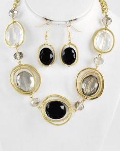 Gold Tone / Black & Clear Glass / Black Dia Glass Crystal / Lead Compliant / Necklace & Fish Hook Earring Set