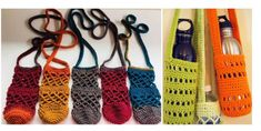 Crochet Projects This Practical And Very Useful Crochet Water Bottle Carrier Is Ideal For Those Trips When You Just Don´t Want to Carry Around A Bag. Water Bottle Backpack, Water Bottle Carrier, Water Bottle Holders, Crochet Handbags, Crochet Purses, Crochet Basket Pattern, Crochet Patterns, Crochet Baby, Free Crochet