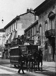 Tram a Cavalli della linea Milano-Monza in corso Venezia, 1877-1900