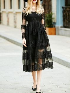 SheIn offers Black Sheer Gauze Lace Long Dress & more to fit your fashionable needs. Casual Dresses, Fashion Dresses, Midi Dresses, Black Evening Dresses, Long Sleeve Midi Dress, Lace Dress Black, Dress Online, Stylewe Dresses, Madina