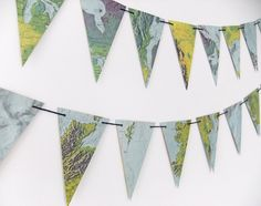 Map Bunting, vintage map garland, Atlas banner, Pennants, Globes and maps