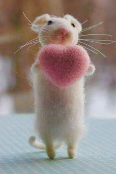 felted cute white mouse with pink heart loads of details and whiskers